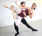 Tanner Calder demonstrates a lift with his partner, Katie Reed, at Southwest Washington Dance Center 2009