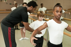 Peabody Ballet's Meredith Rainey works with two students,  Photo by Daniel Bedell