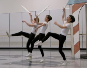 Owen Keith (middle) rehearses the Nutcracker fight scene as a member of the cavalry for Pacific Northwest Ballet 2010
