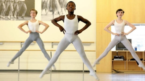 Siphe November, 12,  (centre) dances with other students during a class at the National Ballet School  2010