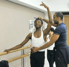 Terrell Rogers, 16, Baltimore, gets help from Meredith Rainey at Peabody Dance 2012
