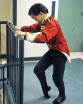 Theo Pilette, 13, stretches his feet before rehearsal begins for Clara's Dream 2012