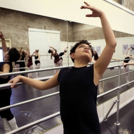 Stefan Arriscorreta, 13, does barre exercises during one of his ballet classes at the Academy of Ballet 2013-01