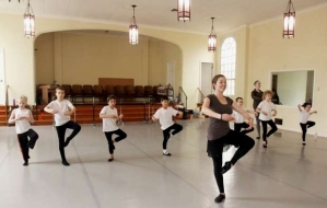 Annie Joslin, owner of American Ballet Academy, teaches a boys ballet class 2013
