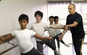 Ballet Arizona school director Carlos Valcárcel with dancers (from left) Brandon Broeker, CJ Damle and William and Ethan O'Neill 2013b