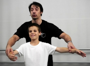 Mark Shapic, 11, is guided by Ballet Instructor Christophe Maraval during a weekly all boys class at The Naples Ballet Academy 2013 (photo by Corey Perrine)