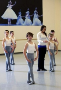 Artistic teacher Ilza Titova instructs a group of Grade 6 boys at Canada's National Ballet School (photo by Andrew Wallace) 2013