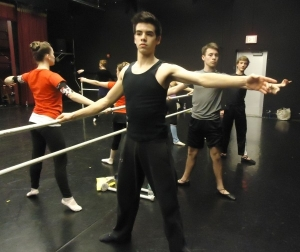 Boys warm up at the barre at the Maine State Ballet School (photo by Kathleen Pierce) 2103