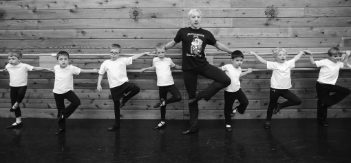 Brennan Benson teaches boy's club ballet class at Dance Gallery in Sioux Falls (photo by Emily Spartz) 2013
