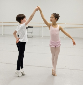 School of Pennsylvania Ballet students Jane Cohen and Aidan Duffy rehearse the Nutcracker 2013 (Photo by Alexander Iziliaev)b