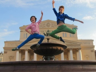 Nich­olas and Julian MacKay out­side the Bolshoi Theatre June 2013