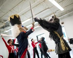 Nutcracker Prince Nathaniel Tyson battles Mouse King Jordan Motter during rehearsal for Midstate Ballet Nutcracker (photo by Jeff Lautenberger) 2013