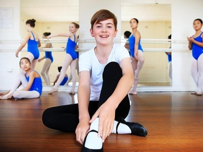 Jack Prowse from Sydney North Ballet School loves the extra attention as the only boy in class (source News Limited) 2014