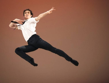 Jumping for joy, Haruo Niyama performs a contemporary variation at the 42th Prix de Lausanne (AP Photo) 2014
