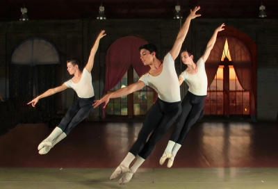 Zachary Alsop, Ryan DeAlexandro, and Dillon Perry in Men'sClass at Ballet San Jose School (photo by Scott Belding)