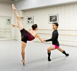 Taylor Gill and Hiroto Saito rehearsing a Swan Lake pas de deux (Ballet Jorgen) 2014