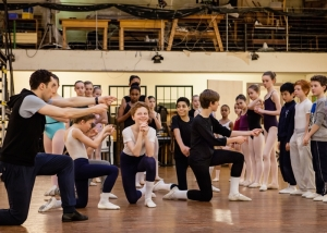 Erico Montes directs dancers rehearsing LCB's Nanny McPhee (Louise Haywood Schiefer, The London Magazine) 2014