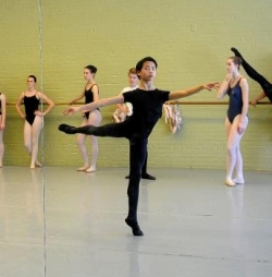 Theo Pilette, 14,  in class at the Lebanon School of Ballet  (Jennifer Hauck, Valley News) 2014