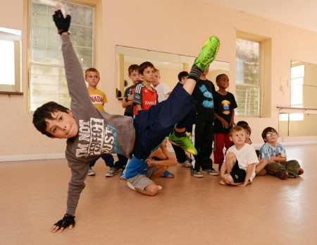 Ravi Cannonier-Watson, 9, in his boys' hip hop class at the Jackson's School of Performing Arts (Photo by Akil Simmons) 2014