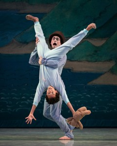 James Ferguson as John Darling and Nathan Goodlett as Michael Darling in Cincinnati Ballet's performance of Peter Pan (Peter Mueller) 2014