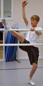 Caleb Ballentine, 12, during a ballet class at the Amherst Ballet (Yoshitaka Hamada) 2014-01