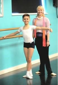 William Davolls, 11, with his dance teacher Caroline Crowley (Hertfordshire Mercury) 2015
