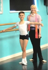 William Davolls, 11, with his dance teacher Caroline Crowley (Hertfordshire Mercury) 2015