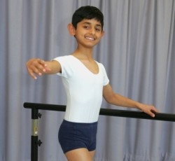 Zayaan Rashid age10 has followed in his brother's footsteps by performing in a Royal Ballet School production 2015