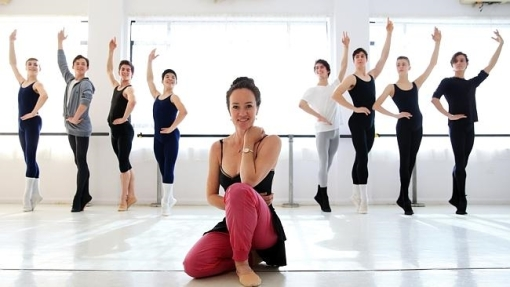 Australian ballerina Lucinda Dunn pictured in her studios in St Leonards with her male pupils (The Daily Telegraph) 2015