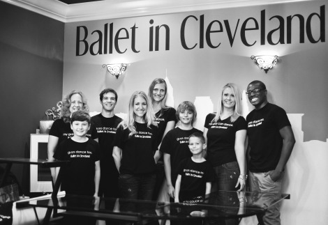 Ballet in Cleveland founder, Jessica Wallis (center) with Guys Dance Too teachers, students, and supporters