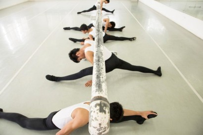 Student ballet dancers from Tuloy Sa Don Bosco Street Children's Village do stretching exercises. Children from the school have earned scholarships to train at a higher level (South China Morning Post) 2015