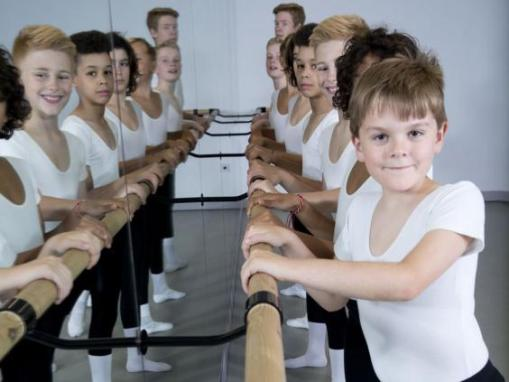 Young dancers at London Boys Ballet School, including Ross Black, at front (Teri Pengilley) 2015