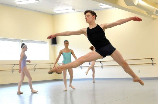 Jake Roxander, 13, practices at his family's ballet school, Studio Roxander, in Medford. Oregon (Mail Tribune, Denise Baratta) 2016