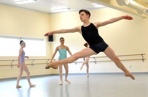 Jake Roxander, 13, practices at his family's ballet school, Studio Roxander, in Medford. Oregon (Mail Tribune, Denise Baratta) 2016
