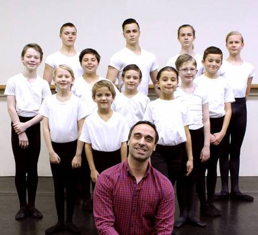 Jean-Hugues Ferey with his boys class at Paris Ballet and Dance (Joseph J. Bucheck III) 2016