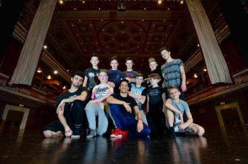 Lee Smikle, centre, helping to train the next generation of ballet boys (Telegraph and Argus) 2016