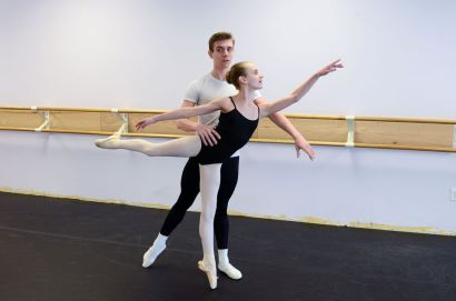 Aaron and Gabrielle Schwab practice ballet together (Chelsey Alder, Statesville Record and Landmark) 2016-02