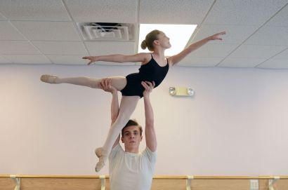 Aaron and Michayla Schwab practice ballet together (Chelsey Alder, Statesville Record and Landmark) 2016-03